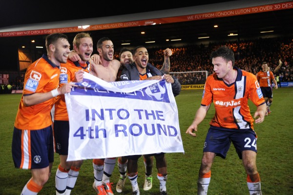 Luton Town celebrates their 3rd Round FA Cup victory over Wolverhampton.